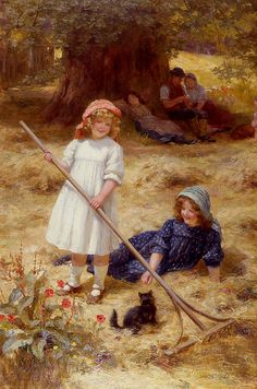 Summer Fun -- by George Sheridan Knowles (English, 1863 -- Munier, Art Ancien, Beautiful Paintings, I Love Cats, Vintage Children, Retro, Cat Art, Art Pictures, Vintage Art