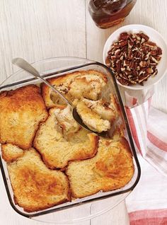 Turn breakfast or brunch into a one-dish meal with these crowd-pleasing dishes, like sweet blueberry French toast and cheesy hashbrown casserole recipes, that will leave your guests satisfied — and you free to entertain. Waffle Recipes, Brunch Recipes, Breakfast Recipes, Egg Recipes, Casserole Recipes, Breakfast Ideas, Overnight French Toast, French Toast Bake, Savory Breakfast