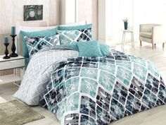 Dose Of Modern Riviera Ranforce Double Quilt Cover Set (ES) - Turquoise White Grey Black Cubes, Double Quilt, Single Quilt, Quilt Cover Sets, Comforters, Duvet Covers, Pastel, Turquoise, Quilts