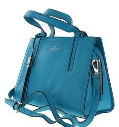 Kate Spade Grey Street Dominique Leather Crossbody Shoulder Bag Neon Turquoise #katespade #Satchel