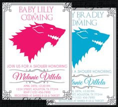 Customized Game Of Thrones baby shower invitation featuring House Stark.