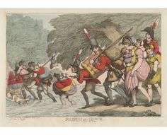 Soldiers on a march. 'To pack up her tatters and follow the drum' 1811