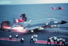 Great angle to illustrate some alterations to the Phantom as licence built in Britain for the Royal Navy. By the late HMS Ark Royal IV was a fairly old design, dwarfed by America's. Hms Ark Royal, Military Jets, Military Aircraft, Fighter Aircraft, Fighter Jets, Airplane Fighter, Photo Avion, F4 Phantom, British Armed Forces