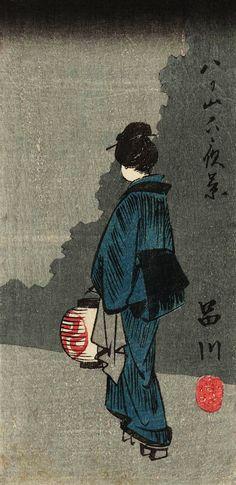 Hiroshige -  広重Night View Below Yatsuyama 八山下夜景、1852