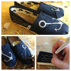 Here is an easy DIY hand painted shoes!   Anchors  Draw the anchors on with a paint pen and some waves on the sides. You can use a brush and acrylic paint also, but I like the n italic look of the silver paint pen. Give them a nice spray of clear acrylic spray paint to finish them.