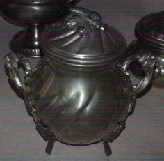 Piękna cynowa cukiernica Peltro / cukierniczka z cyny