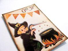 Retro Oct 31 Cards  Set Of 4  Halloween Cards  Retro by SiriusFun