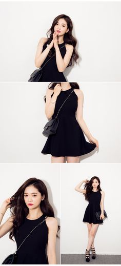 Flared High Halter Neck Dress