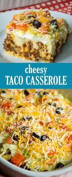 Cheesy Taco Casserole Recipe - Ah-mazing Recipes Mexican Dishes, Mexican Food Recipes, Beef Recipes, Dinner Recipes, Cooking Recipes, Healthy Recipes, Taco Ideas For Dinner, Catfish Recipes, Taco Dinner