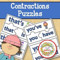 Contraction Puzzles - Winter by Sweetie's | Teachers Pay Teachers Learning Centers, Literacy Centers, Learning Resources, Teaching Ideas, Kindergarten Blogs, Verb Forms, School Reviews, Learn To Spell, Teacher Organization