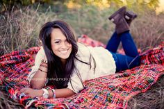 Quilt in field.. Cute for senior pics