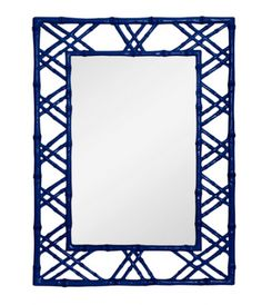 Claire Faux Bamboo Mirror in Blue from Bungalow 5 features lacquered wood frame. Modern style strikes a stylish cord with this blank wall solution.