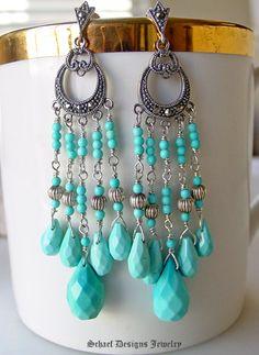 Sleeping Beauty Turquoise & Marcasite Chandelier Post Earrings