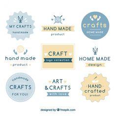 Nine logos for crafts Free Vector Business Logo Design, Craft Business, Craft Logo, Web Design, Photography Logo Design, Watercolor Logo, Flower Logo, Nova, Craft Free
