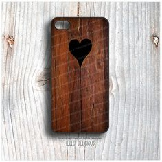 iPhone 5C Case Wood Print, TOUGH iPhone 5s Case Heart, iPhone 4 Case, iPhone 4s Case, Rustic iPhone Case, Wood Texture iPhone Cover T7  by HelloDelicious at Etsy.com  130 sek