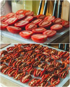 Dried fruits, vegetables and mushrooms in the dehydrator - Dörren - Raw Food Recipes Dried Tomatoes, Cherry Tomatoes, Greek Recipes, Raw Food Recipes, Greek Diet, Roh Vegan, Stuffed Mushrooms, Stuffed Peppers, Nutrition