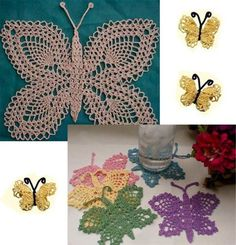 Design by: Maggie Weldon Skill Level: Easy to Intermediate Size: Butterfly Doily: 11″ wide x 9″ tall; Pineapple Butterfly: 6 ½″ wide x 4″ tall; Lacy Butterflies: 3″ wide x 2″ tall. Materials: Blunt Se