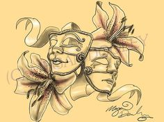 comedy tragedy mask tattoo (but with roses and diamonds in place of the lilies and ribbons)