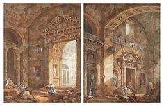 Charles-Louis Clerisseau (Paris 1721-1820 Auteuil)   Interiors of a Roman basilica with figures