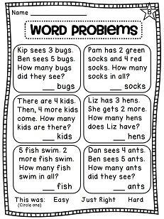 First Grade Math: Printable Word Problem Worksheets | Math, Word ...
