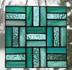 Stained glass split rail quilt square by Barbara's Glassworks #StainedGlassPanels