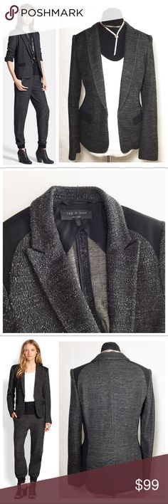"""{ Rag & Bone } Howard Tweed Knit Jacket 6/8 ✅Questions, offers thru offer button 🚫Trades, holds, $$ talk in comments plz R&B Blazer  - A Celeb fave, classic tuxedo silhouette  - Nubby wool knit w/ solid black panels  - Inside is pretty, with finished seams & silk blend lining  - Logo buttons, back vent, industrial hook & eye closure  - Size 8, slim fit, measures approx bust 18.5"""" (doubles), length from shoulder 26"""", sleeves 25.5""""  - Excellent condition, no stains or tears Questions are…"""