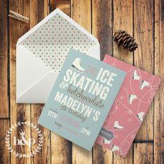 Winter Ice Skating Birthday Party Invitation by HankandPetunia on Etsy