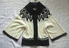 LINDEX_kremowo-czarny sweter oversize ponczo_38/40