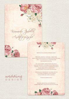 Pretty vintage invitation card with flowers - Csodás vintage esküvői meghívó virágokkal Graphic/Grafika: Wedding Design