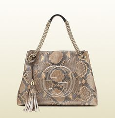 Gucci soho shaded leather shoulder bag in pink pearl metallic python $3450.00