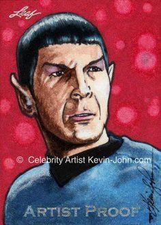 "Leonard Nimoy ""Mr. Spock"" 1/1 Original Artist Proof Leaf Sketch by Celebrity Sports Artist, Kevin-John Jobczynski limited editionCard"