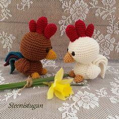Steen i stugan: Virkade tupparna Tage och Ture Easter Crochet, Monster, Crotchet, Easter Crafts, Yoshi, Puppets, Lily, Dolls, Cool Stuff