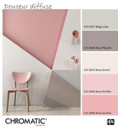 Die pastellfarbene Rose erinnert an eine sanfte und beruhigende Atmosphäre. Hie… The pastel-colored rose evokes a soft and soothing atmosphere. Here, the geometric shapes bring the dynamic side. www. Room Wall Painting, Kids Room Paint, Pink Painting, Bedroom Color Schemes, Bedroom Paint Colors, Paint Schemes, Bedroom Wall, Bedroom Decor, Triangle Wall