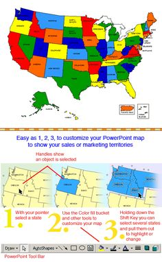 How to Highlight a State maps in a Editable PowerPoint USA Map ...