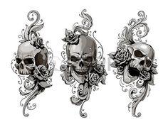 Illustration of Skulls with floral patterns vector set. vector art, clipart and stock vectors. Wrist Tattoos, Skull Tattoos, Tribal Tattoos, Sleeve Tattoos, Skull Tattoo Design, Flower Tattoo Designs, Flower Tattoos, Skull Design, Tattoo Mexicana