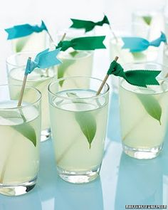 Drink flags for bridal shower to go with the wedding colour scheme.    Love the little colored flags, even for a pop in the center peices!