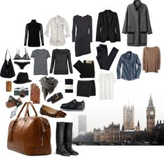 Packing For London - Polyvore  @Jamie Jo Tucker  let's remember this for next fall!! :)