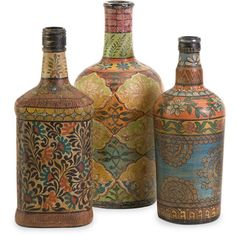 Inspired by vintage circus graphics, this set of three bottles feature a versatile painted design and easily add color to any area. Includes: Three (3) bottles Materials: 65-percent glass, 30-percent