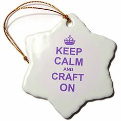 3dRose orn_157702_1 Keep Calm and Craft on Carry on Crafting Gift for Crafters Purple Humorous Porcelain Snowflake Ornament 3Inch ** Click on the image for additional details.
