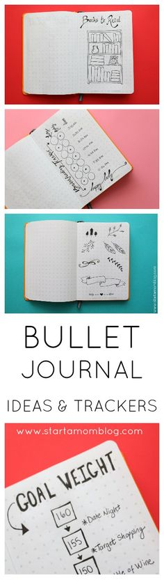 Bullet Journal Ideas, Logs and Trackers. Books, Weight Loss, Goals, Calendars and Savings. Even a breastfeeding tracker. Lots of unique and cute ideas! Bullet Journal Ideas - Start a Mom Blog