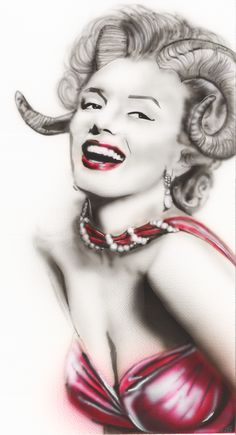 """""""Marilyn with a Twist in Red"""" done by DesignDredge with Iwata Eclipse Airbrush on heavy weight 140lb paper. Prints available at Etsy.com/shop/DesignDredge. #Marilyn Monroe #Pearl #Necklace # Monroe Prints #Marilyn Print # Red Dress #Beautiful # Jewelry #Painting #Custom #Original #OOAK #No Filter #Teeth # American Actress #Popular Culture Icon #Hollywood #Famous #Marilyn Monroe Print #Signed Print #Hollywood Actress #Actress #Marilyn #Monroe #Earrings #Horns #Animal Horns #Ram Horn #Tattoo…"""