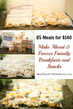 85 Make Ahead and Freezer Friendly Breakfast and Snacks for $140 Meal Plan #7 from 5DollarDinners.com
