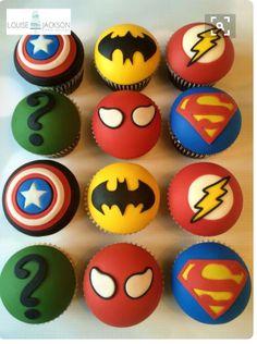 Superhero cupcakes - Cake by Louise Jackson Cake Design - Visit to grab an amazing super hero shirt now on sale! Fondant Toppers, Fondant Cupcakes, Cupcake Cakes, Batman Cupcake Cake, Cupcakes For Boys, Cute Cupcakes, Super Hero Cupcakes, Cupcakes Design, Avengers Birthday