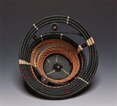 """Days"" 7 x x : Pine needles, waxed linen, stones. Rope Basket, Basket Weaving, Pine Needle Crafts, Contemporary Baskets, Making Baskets, Pine Needle Baskets, Woven Baskets, Rope Rug, Olive Oil Bottles"
