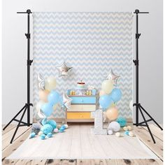 Birthday Photography Backdrops White and Blue Stripe Background for Birthday Party Backdrop 1st Birthday Photoshoot, Baby Boy 1st Birthday, First Birthday Photos, 1st Birthday Parties, Birthday Background, Birthday Backdrop, Boy Birthday Photography, Photography Backdrops, Photography Studios