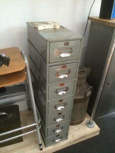 Vintage Industrial Veteran Series British Metal File Drawer-Card Index File