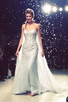 THE ELSA WEDDING DRESS!!! Alfred Angelo Disney Collection 2015 New York Bridal Market (BridesMagazine.co.uk)