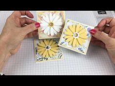 Learn how to make a paper crate filled with daisy notecards in this step-by-step tutorial by Stampin' Up Demonstrator Lynda Falconer. Gift Card Boxes, Gift Cards, Daisy Delight Stampin' Up, Greeting Card Video, Small Cards, Card Tutorials, Scrapbook Cards, Scrapbooking, Flower Tutorial