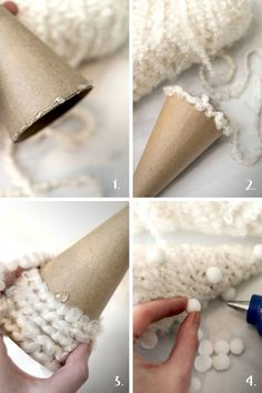 These whimsical DIY Christmas tree decorations are so easy to make, and look so soft and pretty on a Christmas mantle, under a Christmas tree or wintery window sill! Noel Christmas, Diy Christmas Ornaments, Simple Christmas, Winter Christmas, Christmas Mantles, Victorian Christmas, Vintage Ornaments, Vintage Santas, Pink Christmas