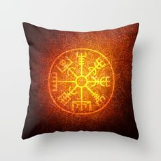 Unique design where viking symbol is mixes with celtic knots on the background. Vegvisir is a symbol for navigation Navigation Design, Knot Pillow, Vegvisir, Viking Symbols, Celtic Knots, Home Deco, Iceland, Vikings, Norway